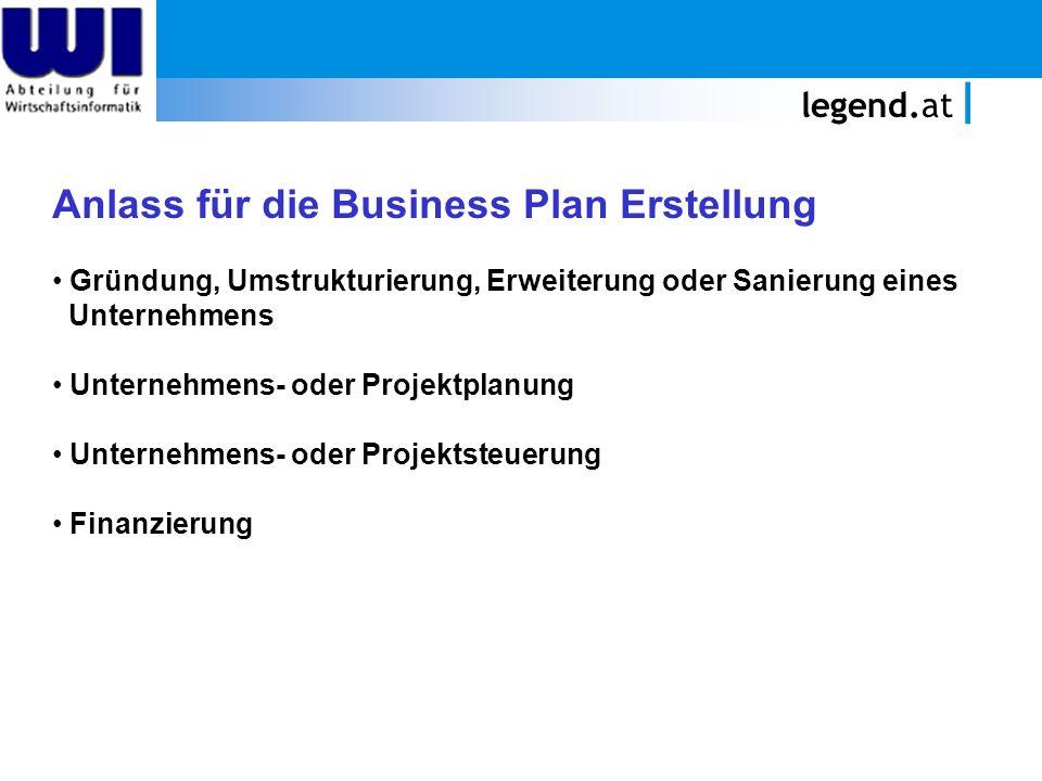 Anlass für die Business Plan Erstellung