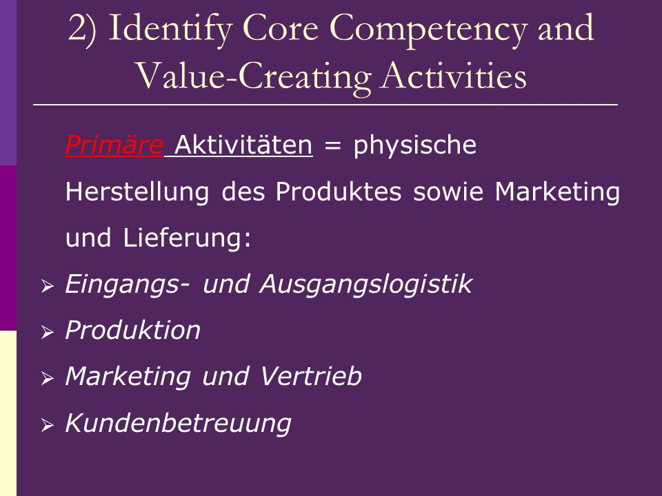 2) Identify Core Competency and Value-Creating Activities