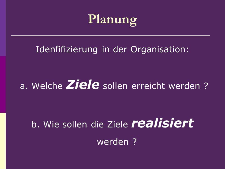 Planung Idenfifizierung in der Organisation: a. Welche Ziele sollen erreicht werden .