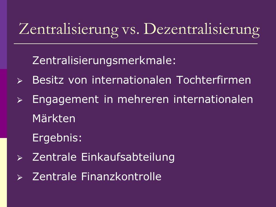 Zentralisierung vs. Dezentralisierung