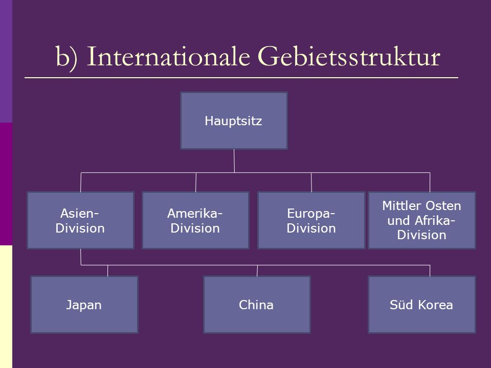 b) Internationale Gebietsstruktur