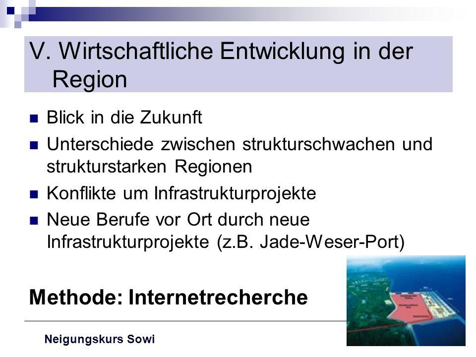 V. Wirtschaftliche Entwicklung in der Region