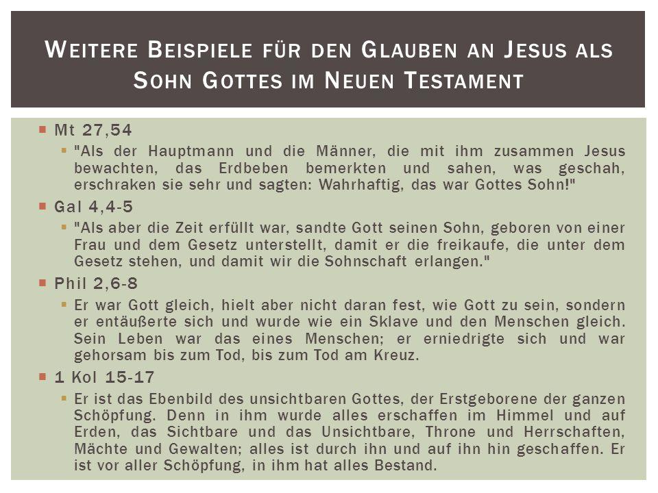 Weitere Beispiele für den Glauben an Jesus als Sohn Gottes im Neuen Testament