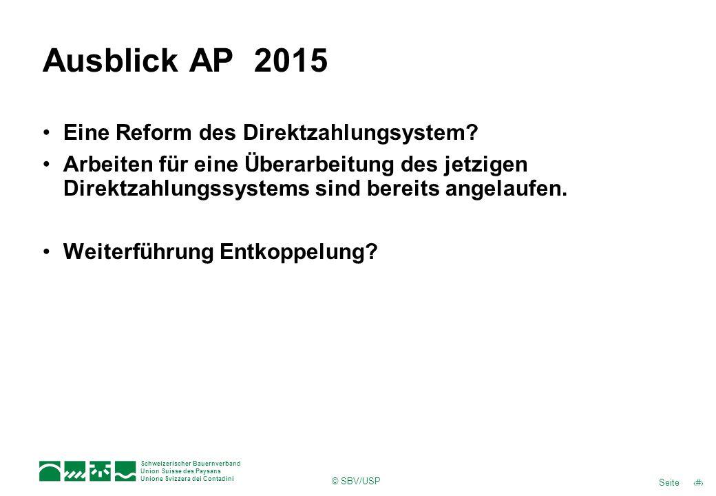 Ausblick AP 2015 Eine Reform des Direktzahlungsystem