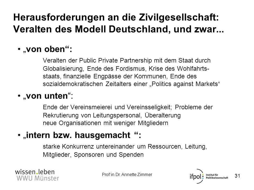 Herausforderungen an die Zivilgesellschaft: Veralten des Modell Deutschland, und zwar...
