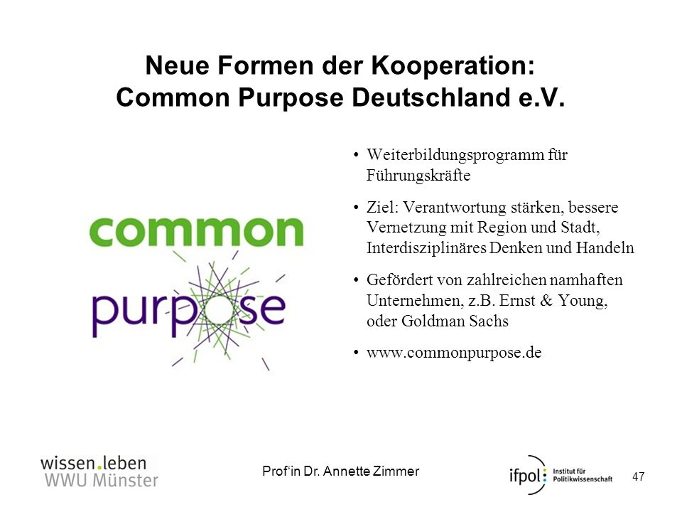 Neue Formen der Kooperation: Common Purpose Deutschland e.V.