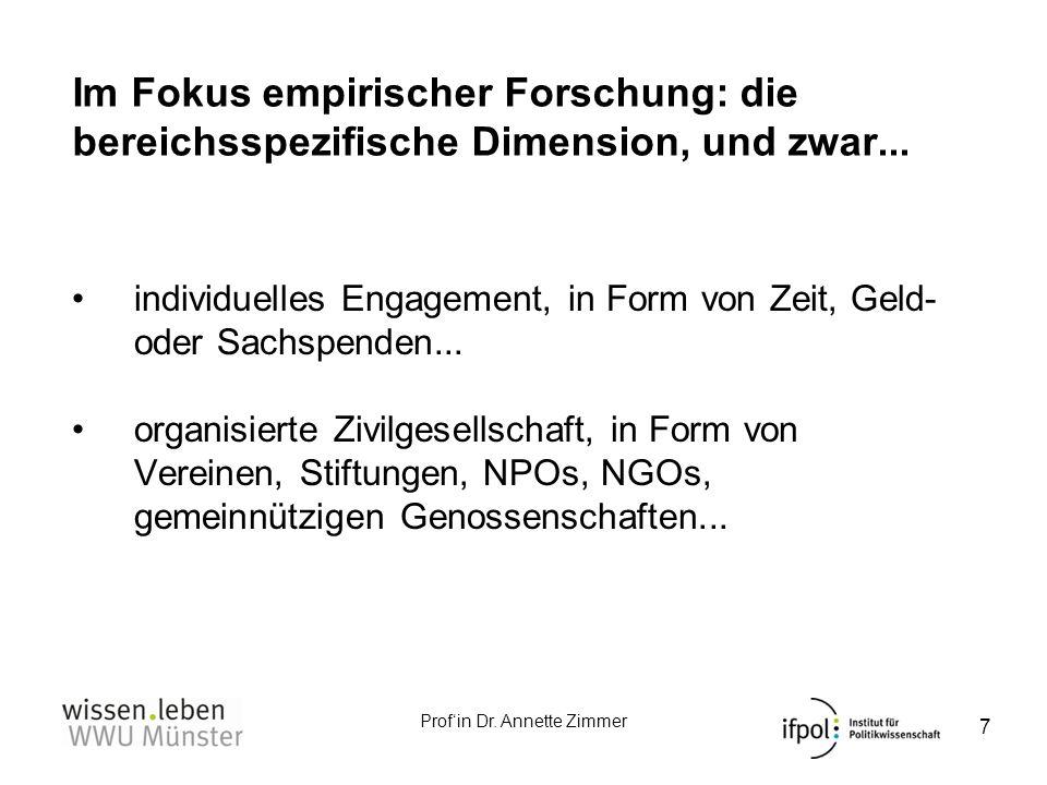Im Fokus empirischer Forschung: die bereichsspezifische Dimension, und zwar...
