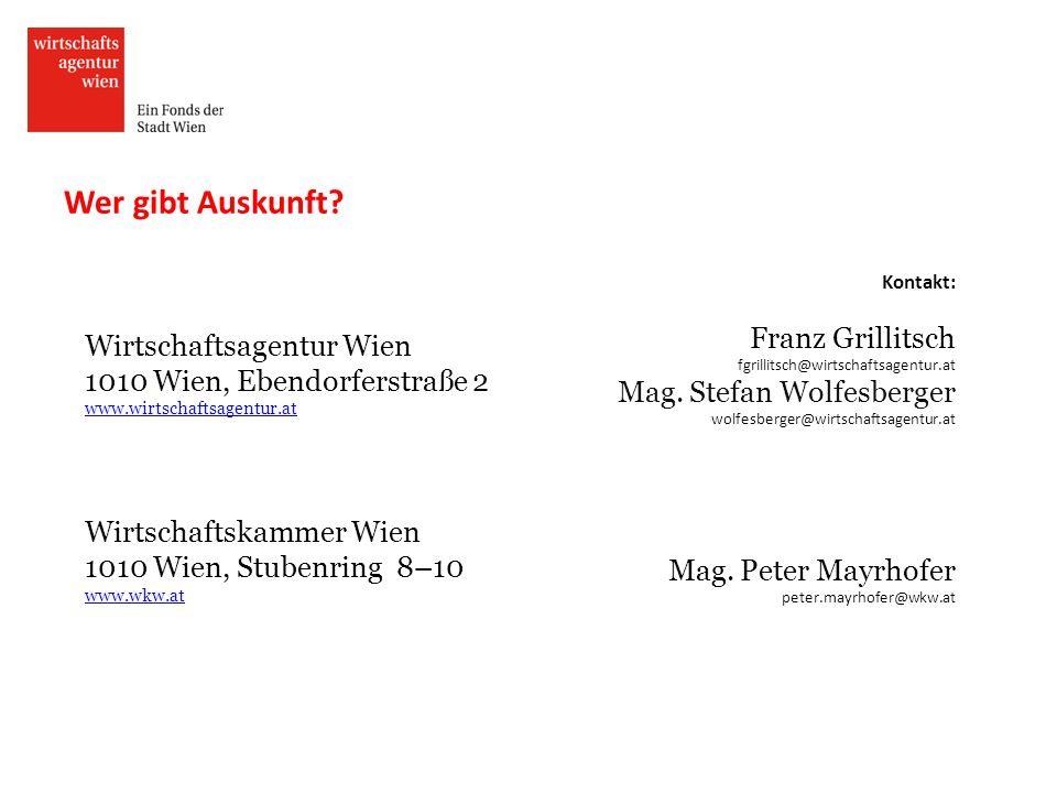 Wer gibt Auskunft Franz Grillitsch Mag. Stefan Wolfesberger