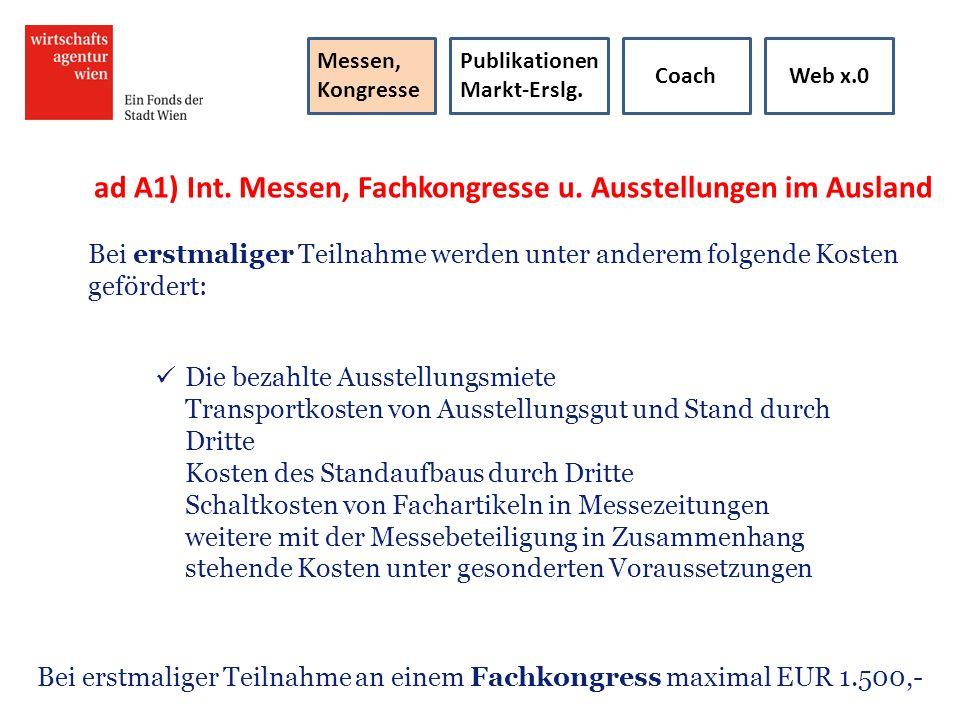 ad A1) Int. Messen, Fachkongresse u. Ausstellungen im Ausland
