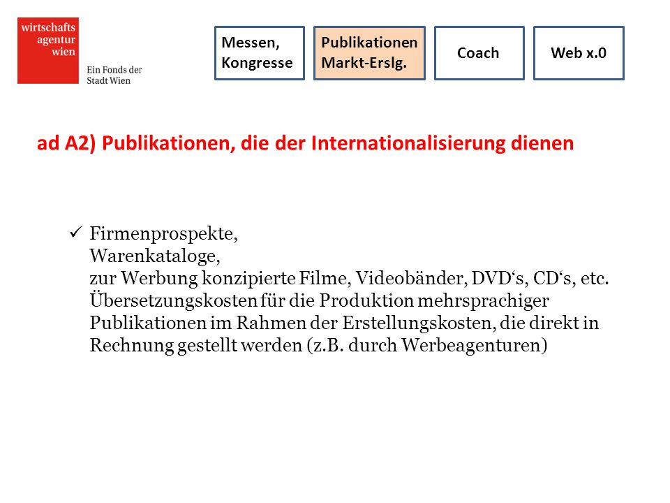 ad A2) Publikationen, die der Internationalisierung dienen