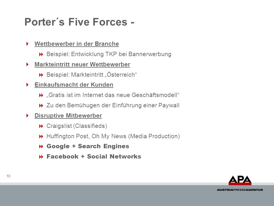 Porter´s Five Forces - Wettbewerber in der Branche