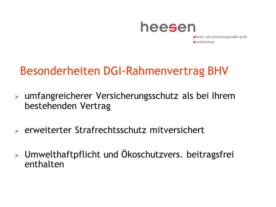 Besonderheiten DGI-Rahmenvertrag BHV