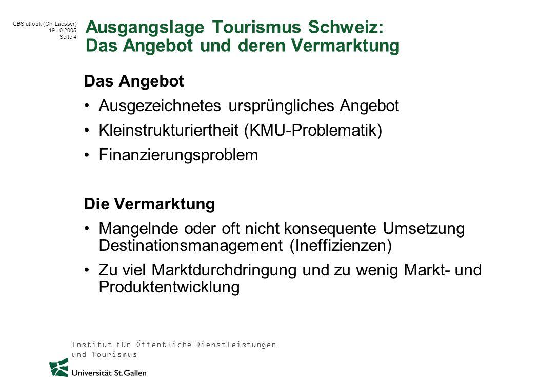 Ausgangslage Tourismus Schweiz: Das Angebot und deren Vermarktung