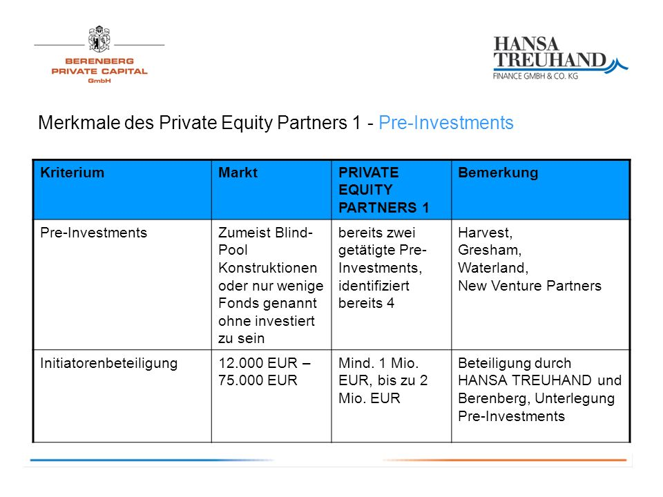 Merkmale des Private Equity Partners 1 - Pre-Investments