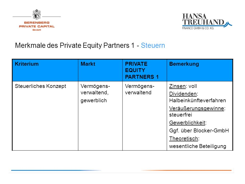 Merkmale des Private Equity Partners 1 - Steuern