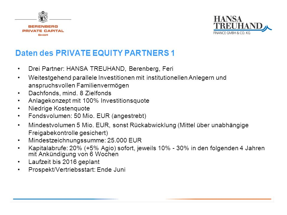 Daten des PRIVATE EQUITY PARTNERS 1