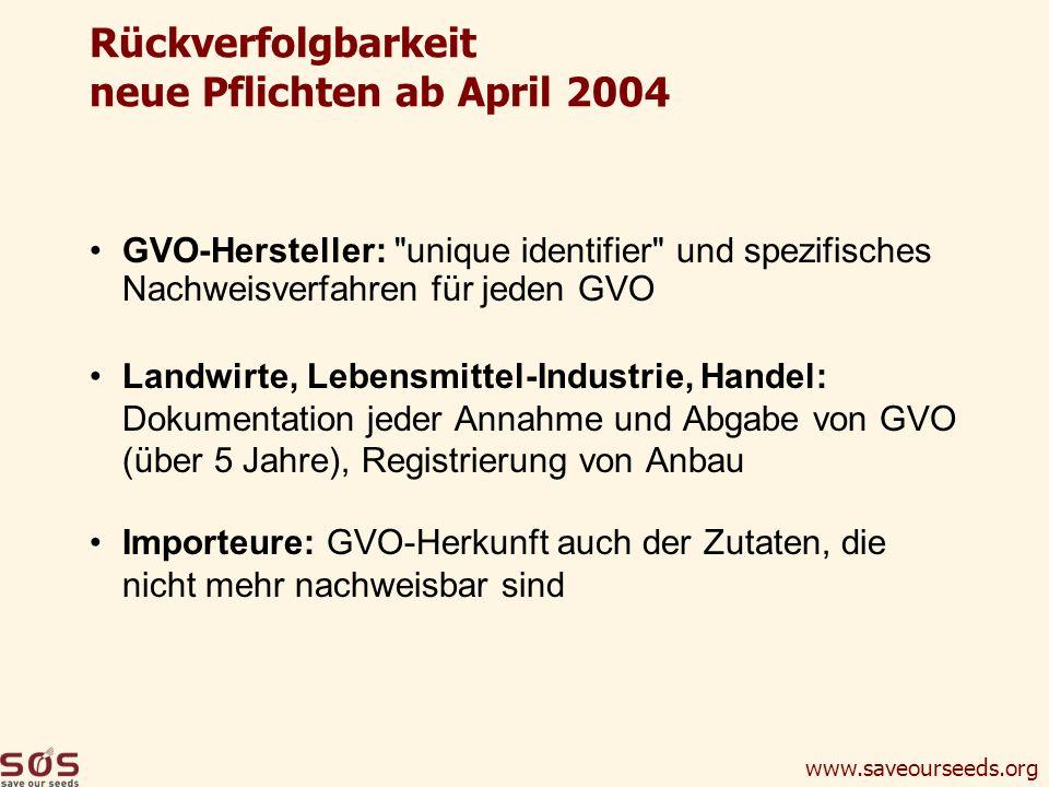 Rückverfolgbarkeit neue Pflichten ab April 2004