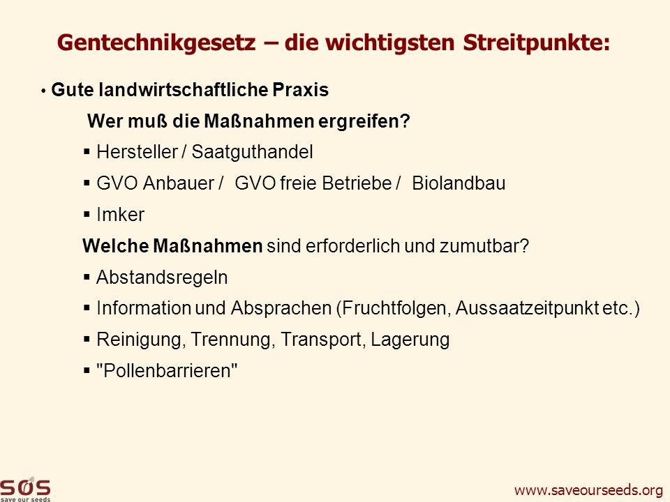 Gentechnikgesetz – die wichtigsten Streitpunkte:
