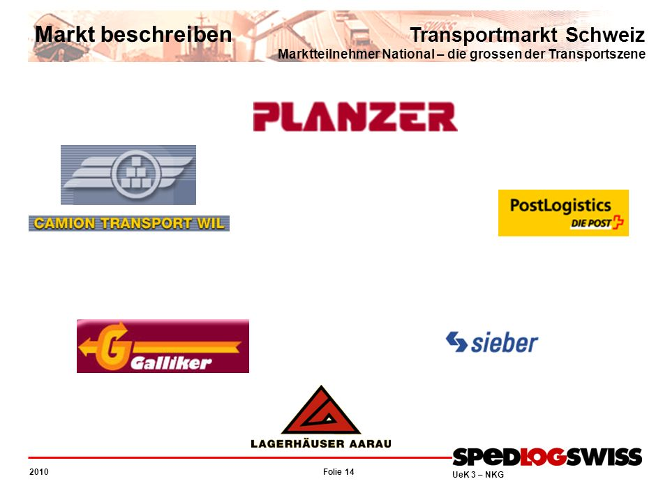 Markt beschreibenTransportmarkt Schweiz Marktteilnehmer National – die grossen der Transportszene.