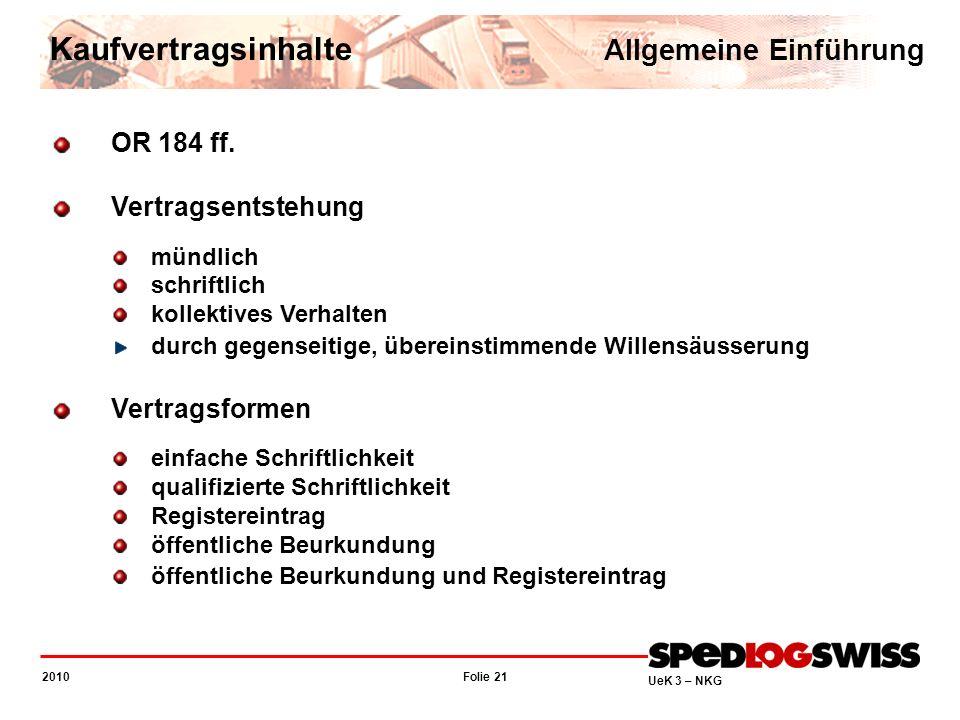 Kaufvertragsinhalte Allgemeine Einführung OR 184 ff.
