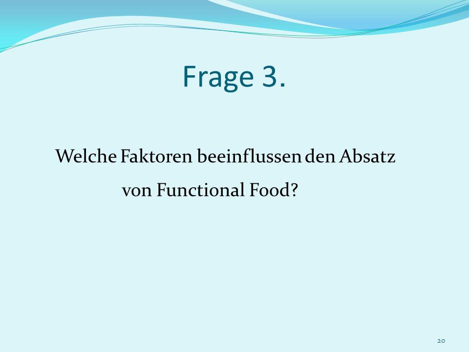 Frage 3. Welche Faktoren beeinflussen den Absatz von Functional Food