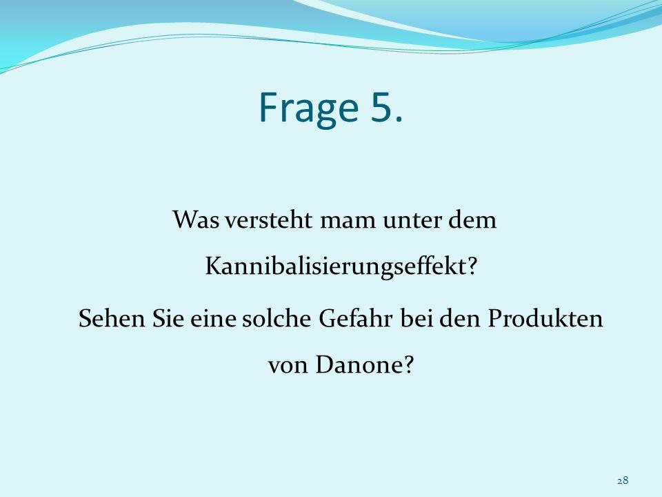 Frage 5. Sehen Sie eine solche Gefahr bei den Produkten von Danone