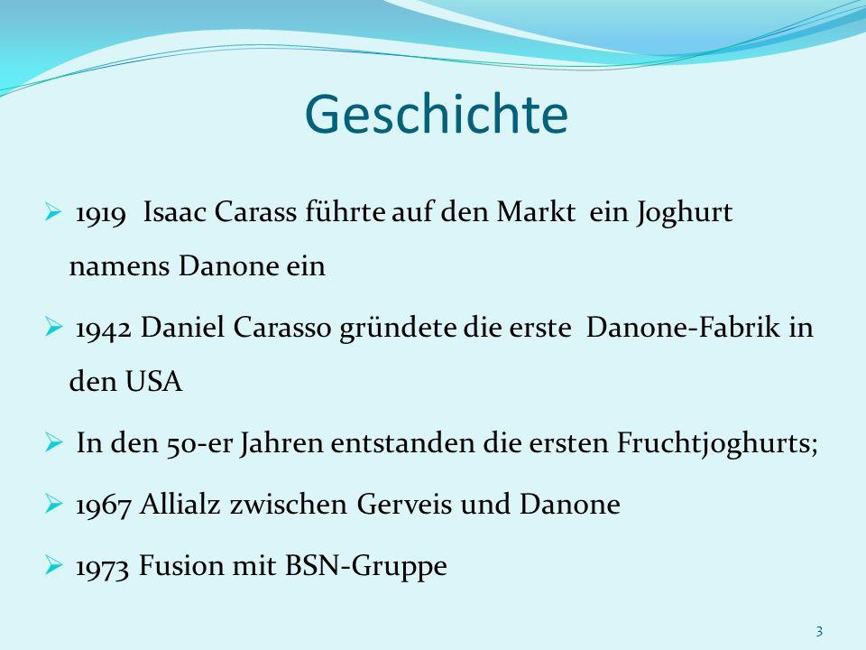 Geschichte 1919 Isaac Carass führte auf den Markt ein Joghurt namens Danone ein. 1942 Daniel Carasso gründete die erste Danone-Fabrik in den USA.