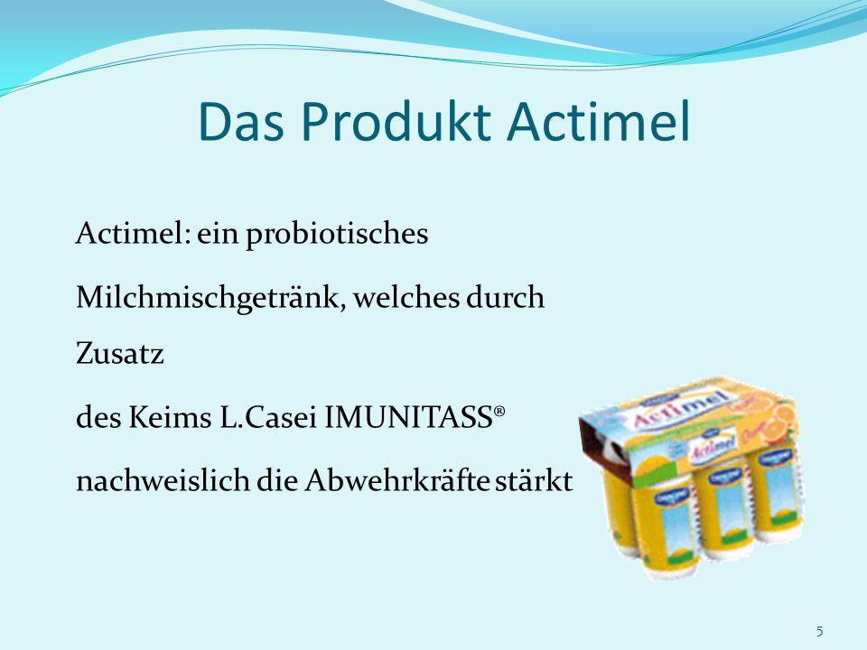 Das Produkt Actimel Milchmischgetränk, welches durch Zusatz