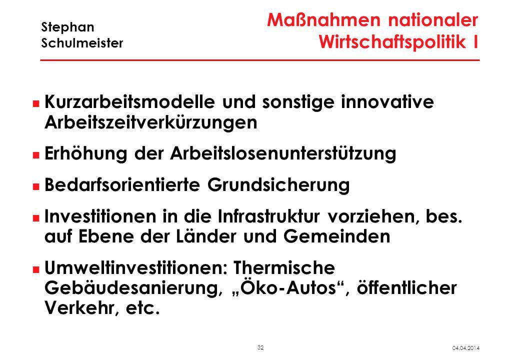 Maßnahmen nationaler Wirtschaftspolitik II
