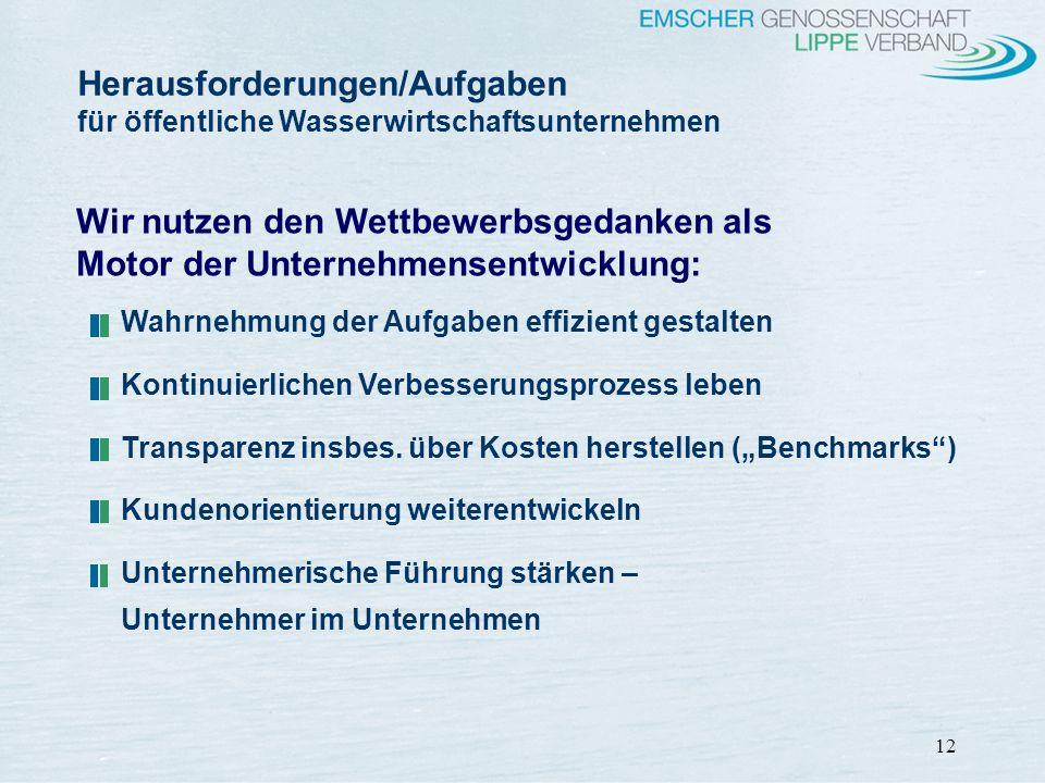 Herausforderungen/Aufgaben für öffentliche Wasserwirtschaftsunternehmen