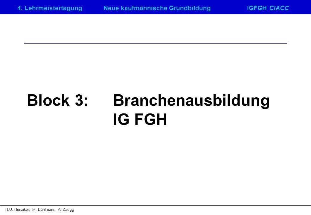 Block 3: Branchenausbildung IG FGH