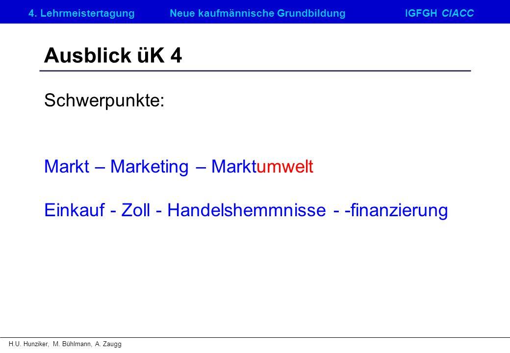 Ausblick üK 4 Schwerpunkte: Markt – Marketing – Marktumwelt