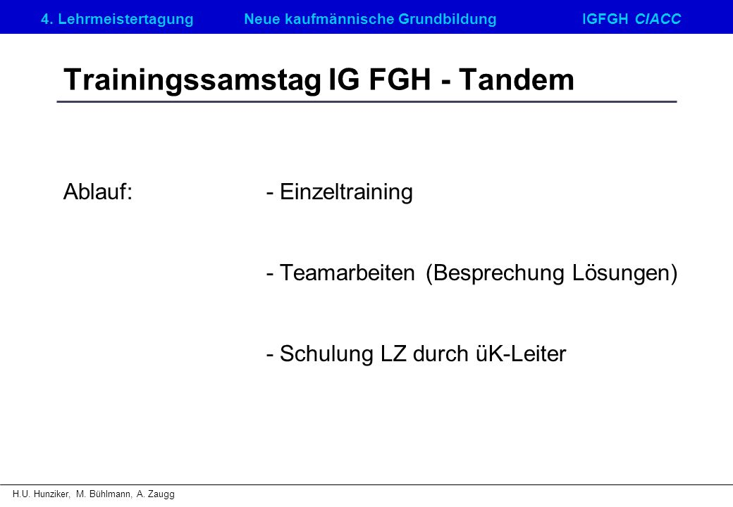 Trainingssamstag IG FGH - Tandem
