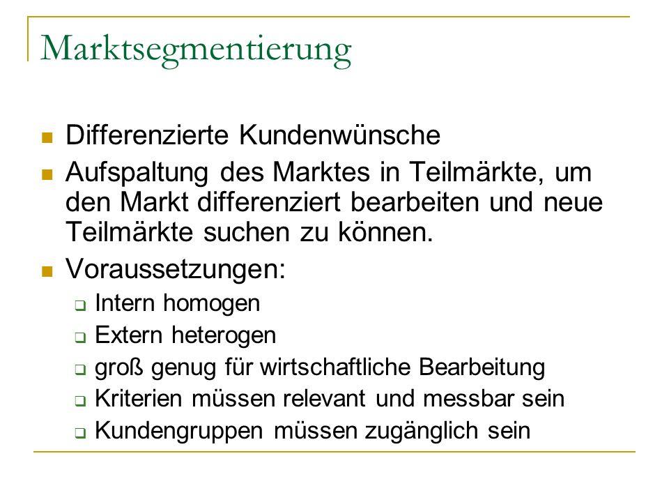 Marktsegmentierung Differenzierte Kundenwünsche