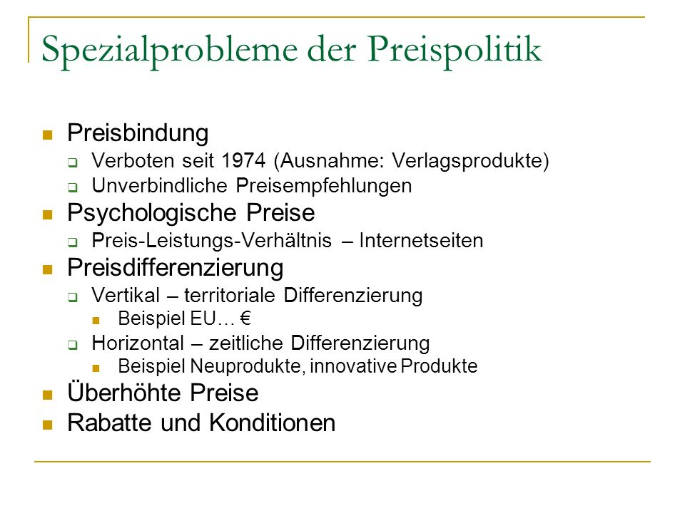 Spezialprobleme der Preispolitik