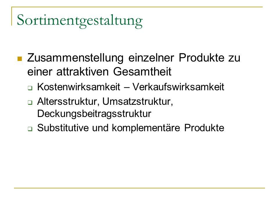 SortimentgestaltungZusammenstellung einzelner Produkte zu einer attraktiven Gesamtheit. Kostenwirksamkeit – Verkaufswirksamkeit.