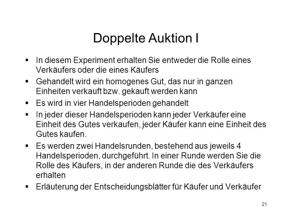 Doppelte Auktion I In diesem Experiment erhalten Sie entweder die Rolle eines Verkäufers oder die eines Käufers.