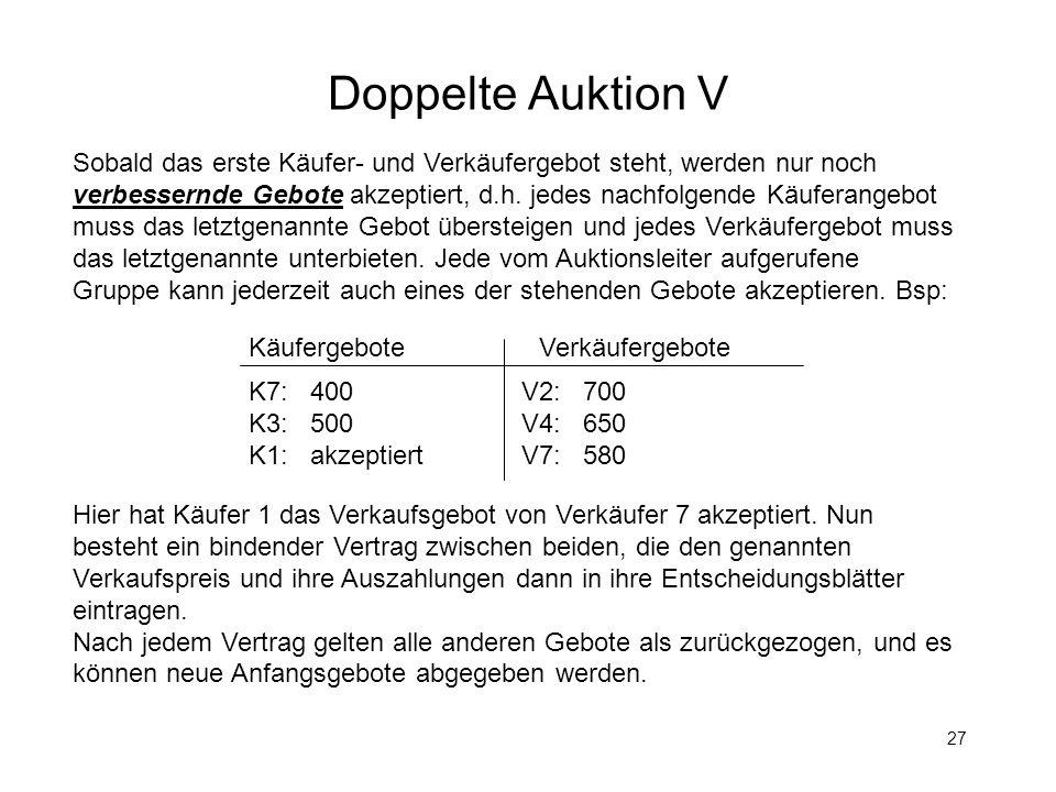 Doppelte Auktion V Sobald das erste Käufer- und Verkäufergebot steht, werden nur noch.