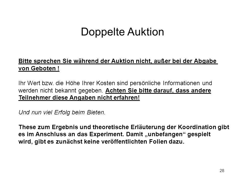 Doppelte Auktion Bitte sprechen Sie während der Auktion nicht, außer bei der Abgabe. von Geboten !