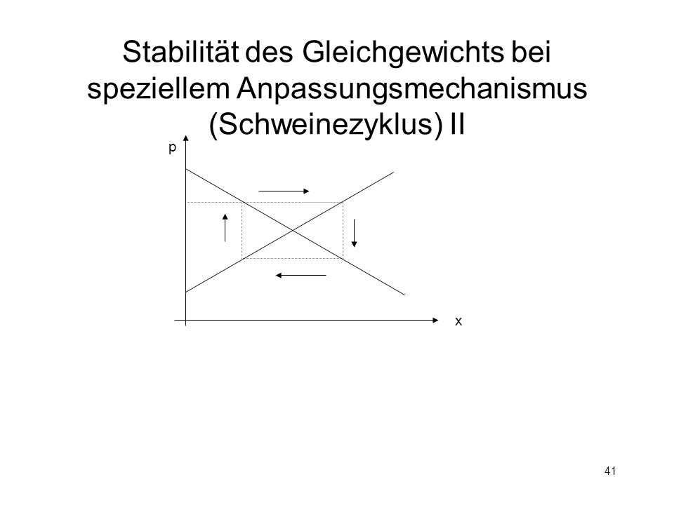 Stabilität des Gleichgewichts bei speziellem Anpassungsmechanismus (Schweinezyklus) II