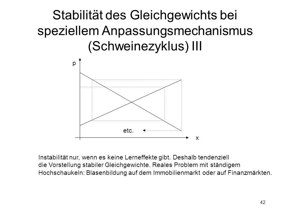 Stabilität des Gleichgewichts bei speziellem Anpassungsmechanismus (Schweinezyklus) III