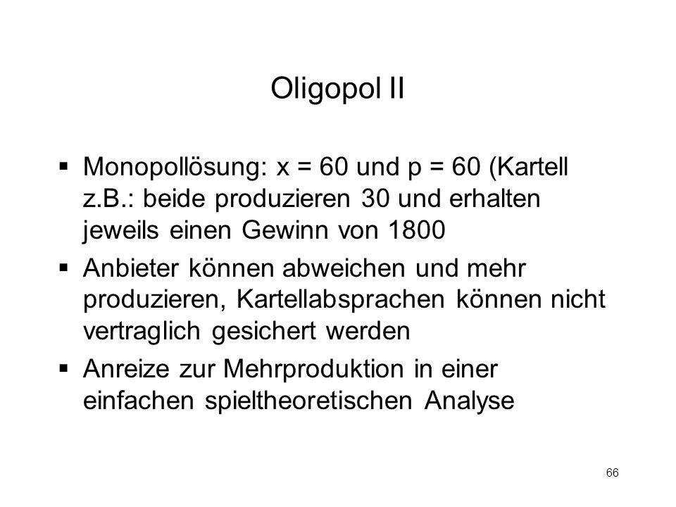 Oligopol II Monopollösung: x = 60 und p = 60 (Kartell z.B.: beide produzieren 30 und erhalten jeweils einen Gewinn von 1800.