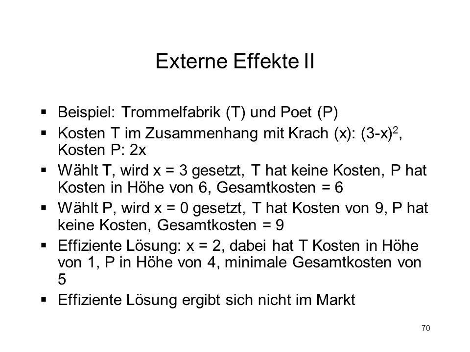 Externe Effekte II Beispiel: Trommelfabrik (T) und Poet (P)