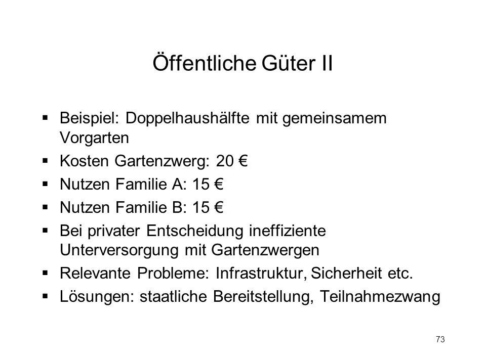 Öffentliche Güter IIBeispiel: Doppelhaushälfte mit gemeinsamem Vorgarten. Kosten Gartenzwerg: 20 € Nutzen Familie A: 15 €