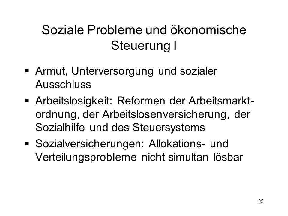 Soziale Probleme und ökonomische Steuerung I