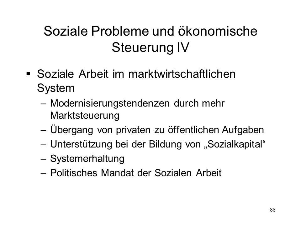 Soziale Probleme und ökonomische Steuerung IV