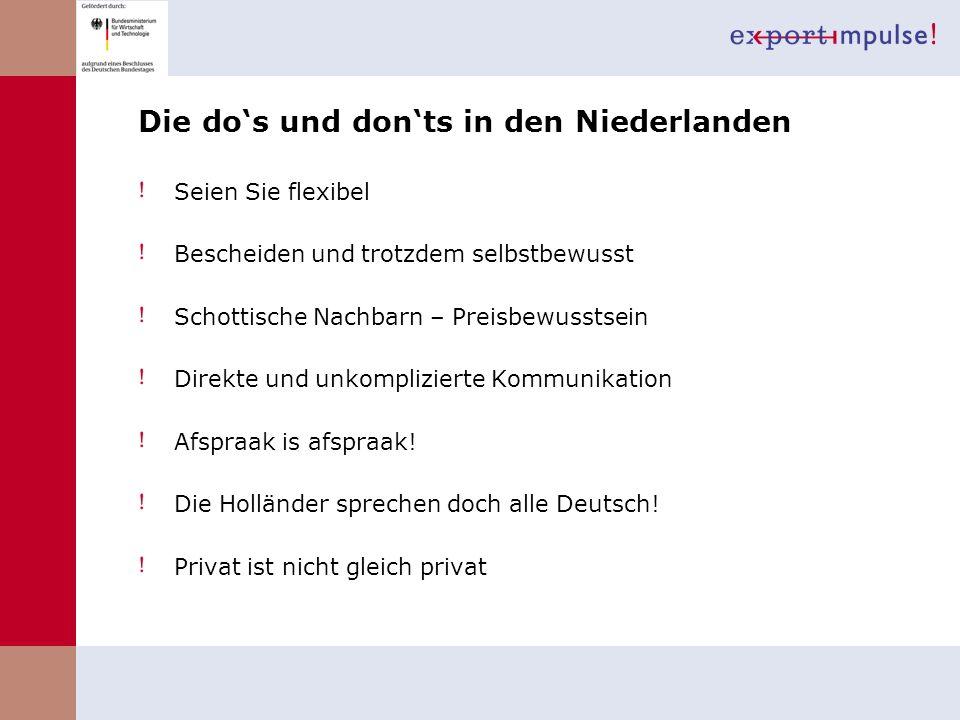 Die do's und don'ts in den Niederlanden