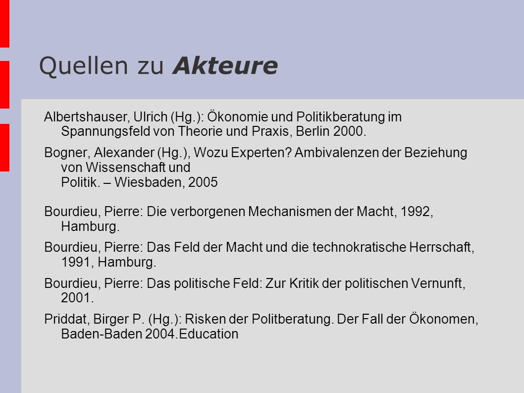 Quellen zu Akteure Albertshauser, Ulrich (Hg.): Ökonomie und Politikberatung im Spannungsfeld von Theorie und Praxis, Berlin 2000.