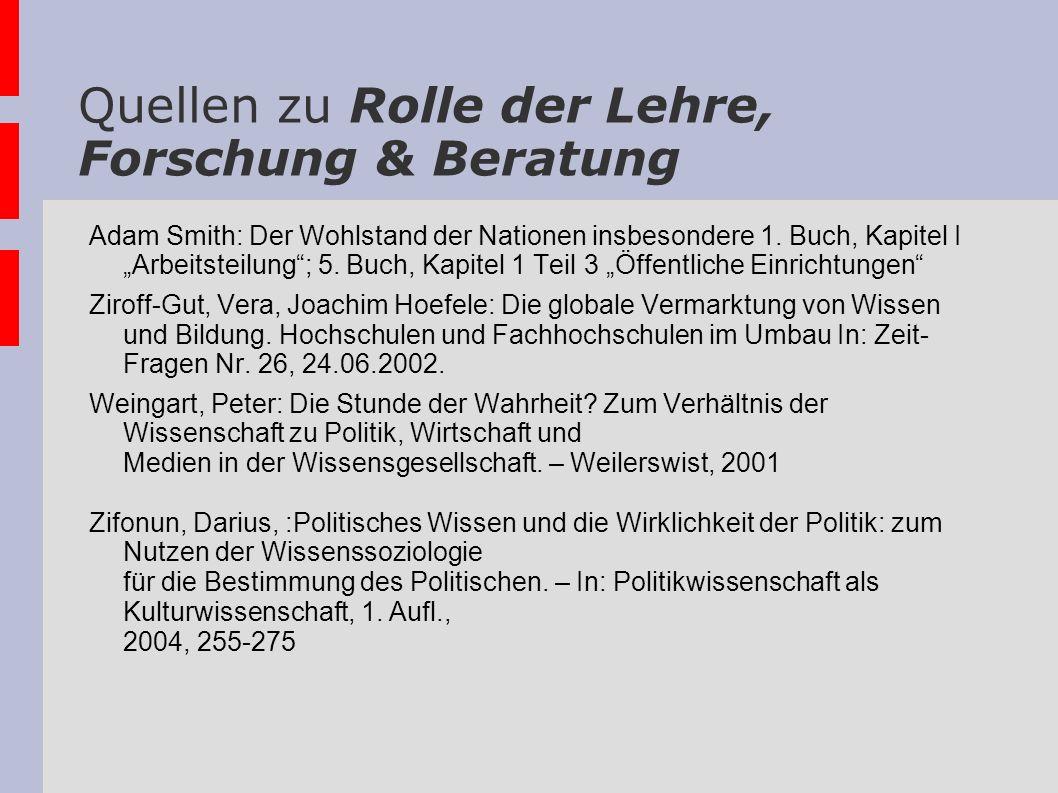Quellen zu Rolle der Lehre, Forschung & Beratung