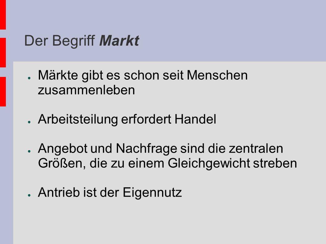 Der Begriff Markt Märkte gibt es schon seit Menschen zusammenleben